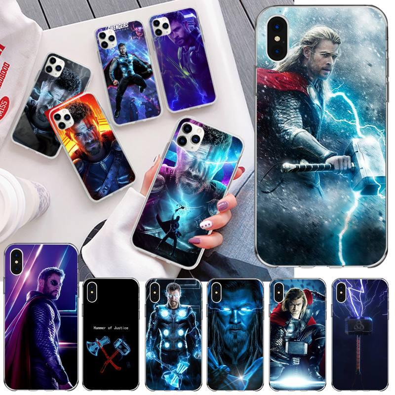 HPCHCJHM Marvel hero Thor TPU negro cubierta de la caja del teléfono del casco para iPhone 11 pro XS MAX 8 7 6 6S Plus X 5S SE 2020 XR cubierta