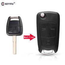 KEYYOU-étui pour Opel Vectra 2003-2007 SIGNUM ZAFIRA avec lame HU43 et Logo   3 boutons, à rabat de télécommande de voiture