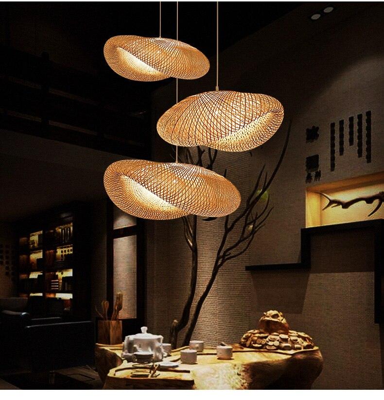 حار بيع اليدوية الخيزران قلادة ضوء E27 الصينية الآسيوية نمط الخيزران معلقة مصابيح لغرفة المعيشة المطبخ إضاءة داخلية