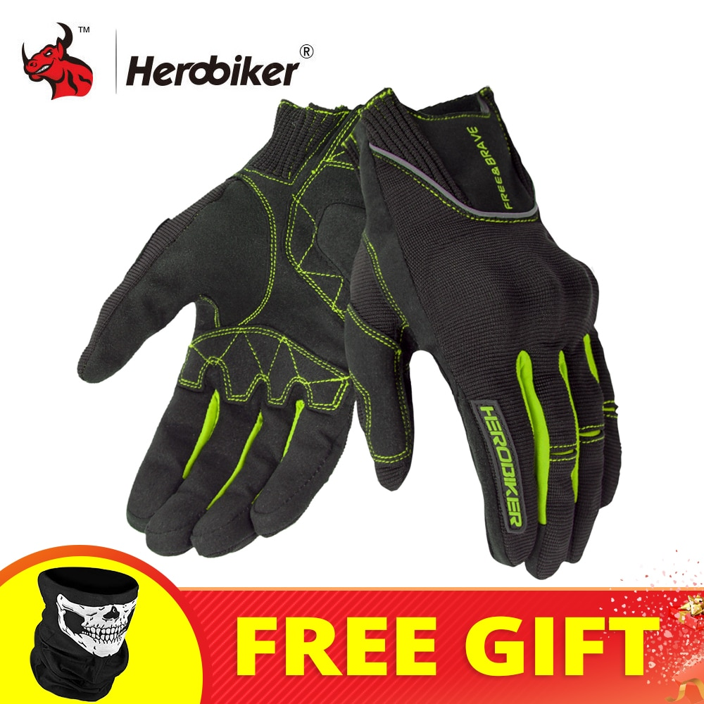 HEROBIKER Motorcycle Gloves Protective Gear Motorbike Riding Gloves Full Finger Men Breathable Motocross Gloves Touch Function