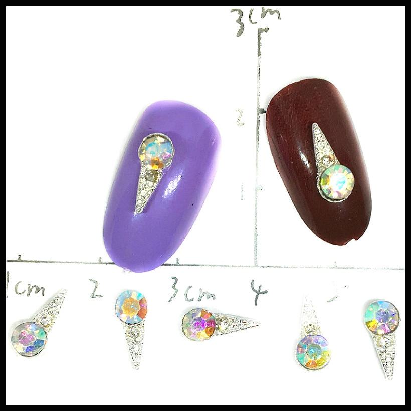 10 Uds. De dijes de plata para decoración de uñas, Varita de...
