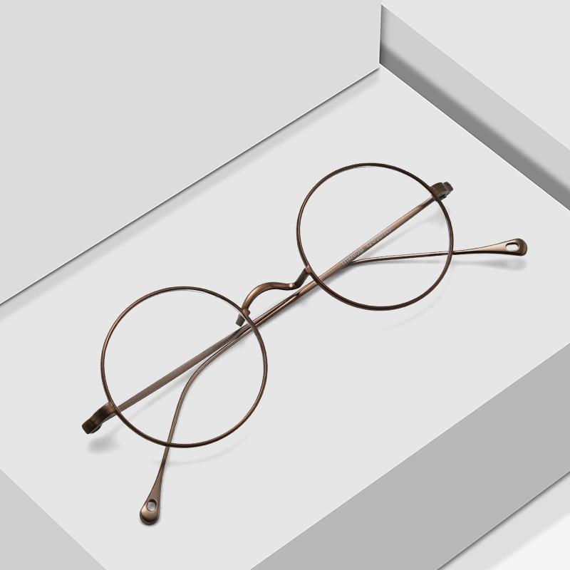 اليابانية اليدوية وصفة النظارات الإطار جون لينون الكلاسيكية الجولة التيتانيوم نظارات إطار الرجال النساء النظارات البصرية Gafas