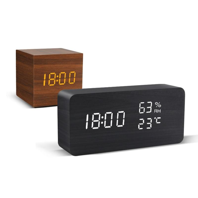 Alarm Clock LED Wooden Watch Table Voice Control Digital Wood Despertador USB/AAA Powered Electronic