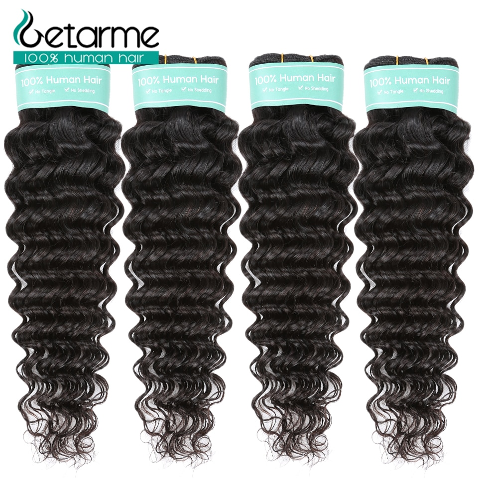 Getarme Indian Deep Wave Human Hair Extensions Double Weft Remy 4 Bundles 100% Weave Natural Color
