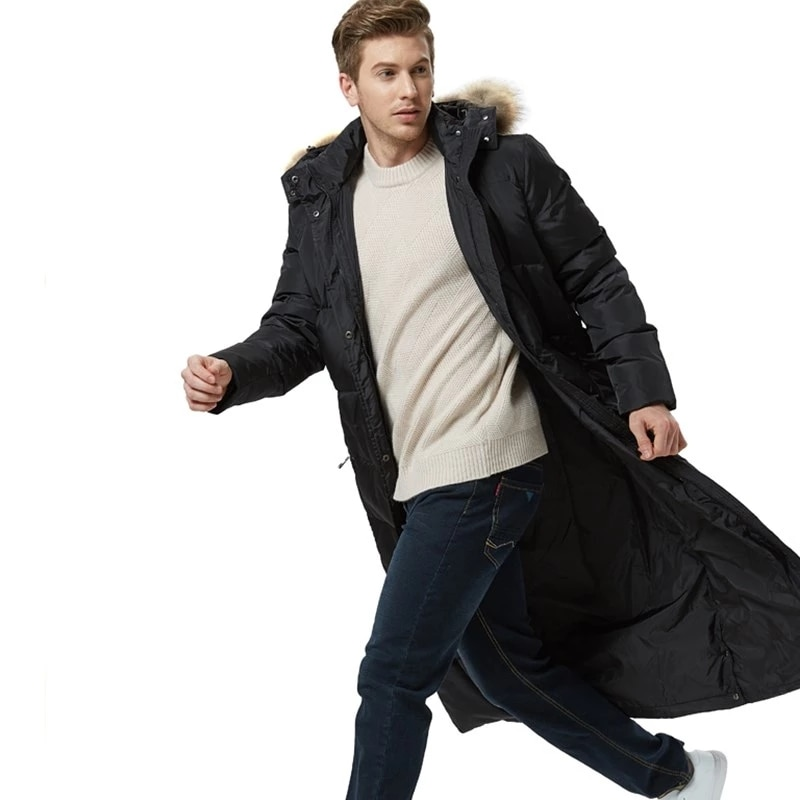 Winter Men's Black Down Jacket New Winter Male Super Length Smart Casual Down Jacket Detachable Fox Fur Hooded Long Coat S-5XL