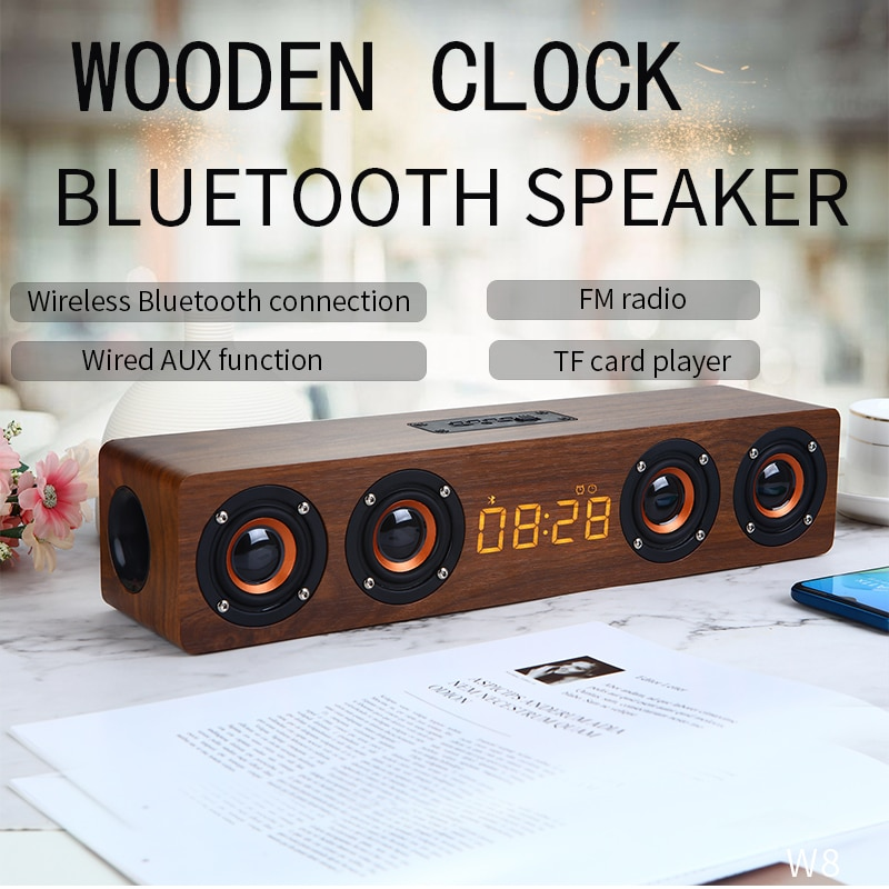 Wooden Wireless Mobile Phone Bluetooth Speaker, computer sound master multi-functional home alarm clock Retro Stereo