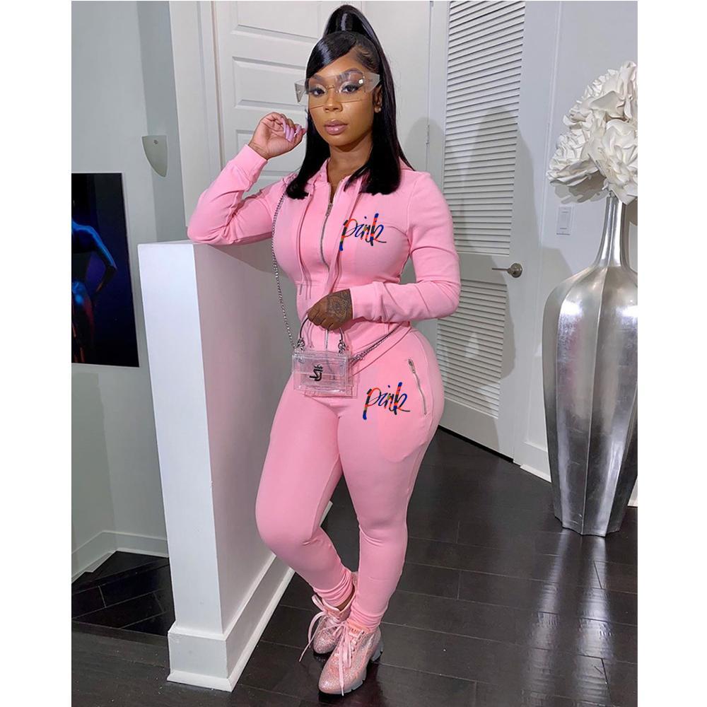 Женский спортивный костюм с надписью, розовый комплект из 2 предметов, осенняя уличная толстовка с капюшоном и фото, повседневный костюм из ...