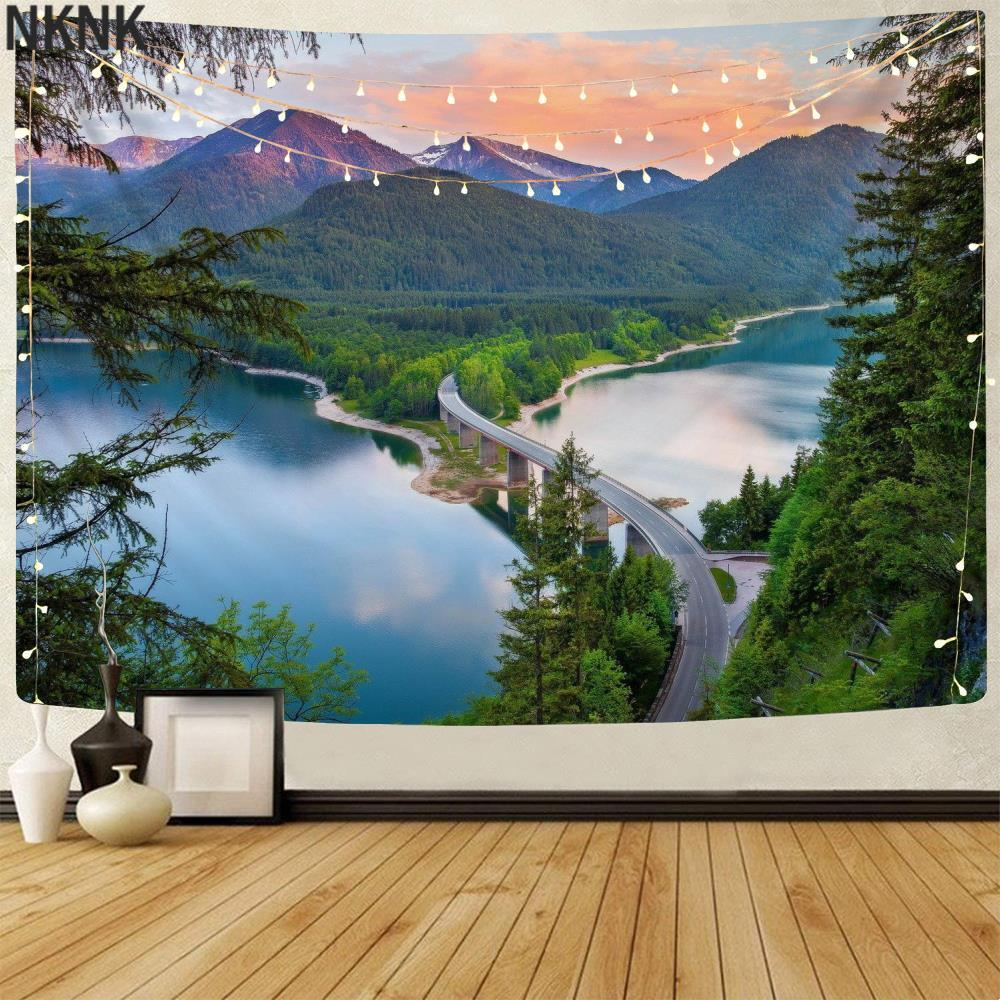 Натуральный гобелен NKNK, горы, гобелены, лес, тенти, мандала, пейзаж, домашние гобелены, Настенный декор в стиле бохо, хиппи, Новинка