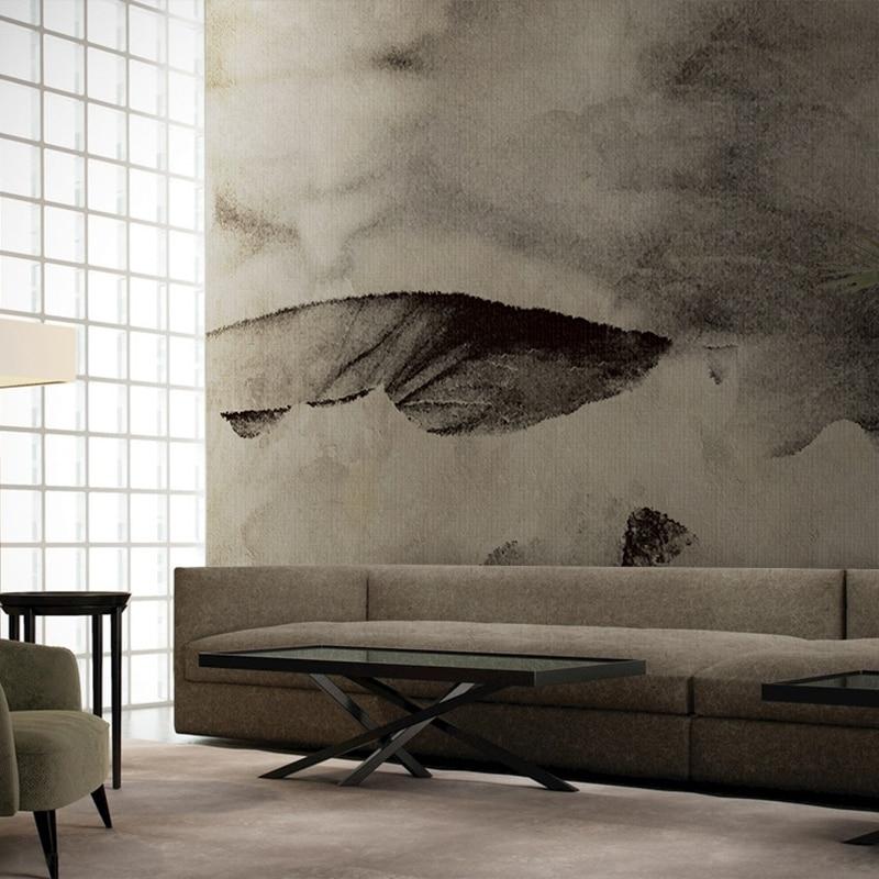 Masar Chinese Element Abstracte Muurschildering Grijze Inkt Art Behang Woonkamer Eetkamer Achtergrond Muur Papier Lotusblad 0 Off