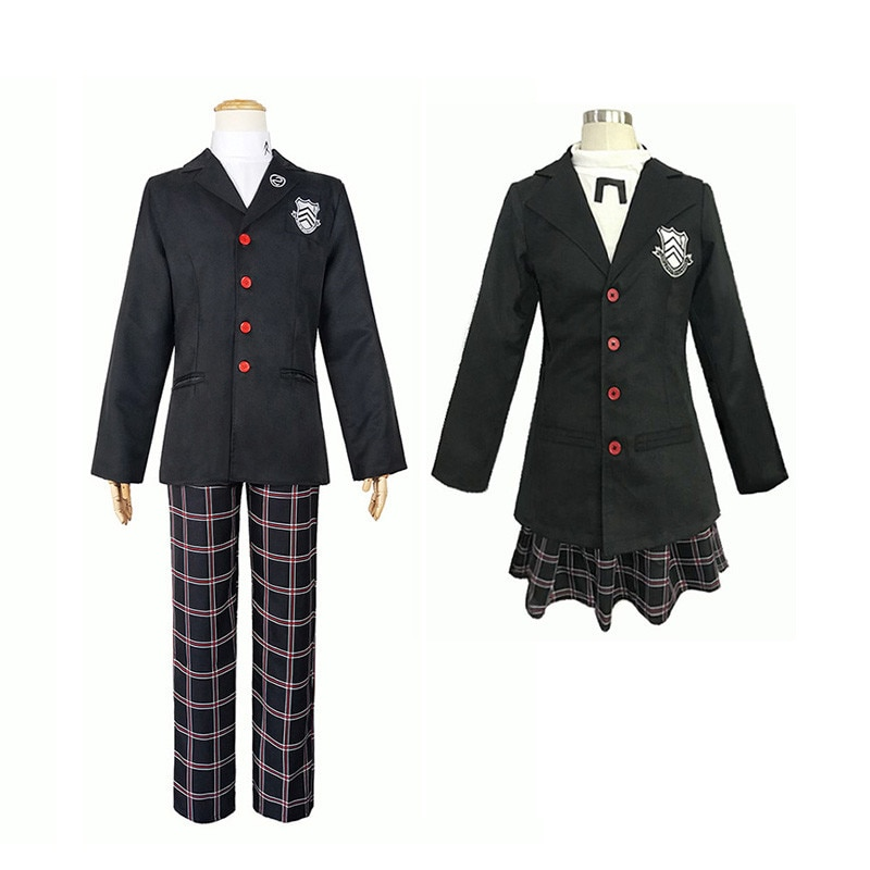 Juego Persona 5 Amamiya Ren Cosplay disfraz P5 Akira Kurusu negro Cosplay peluca uniforme escolar hombres mujeres traje de Halloween
