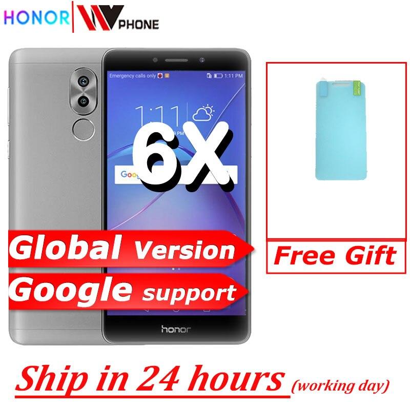 Оригинал, Honor 6X, 3G RAM, 32G ROM, двойная задняя камера, LTE, мобильный телефон, четыре ядра, 5,5 дюймов, 1920x1080P, отпечаток пальца ID