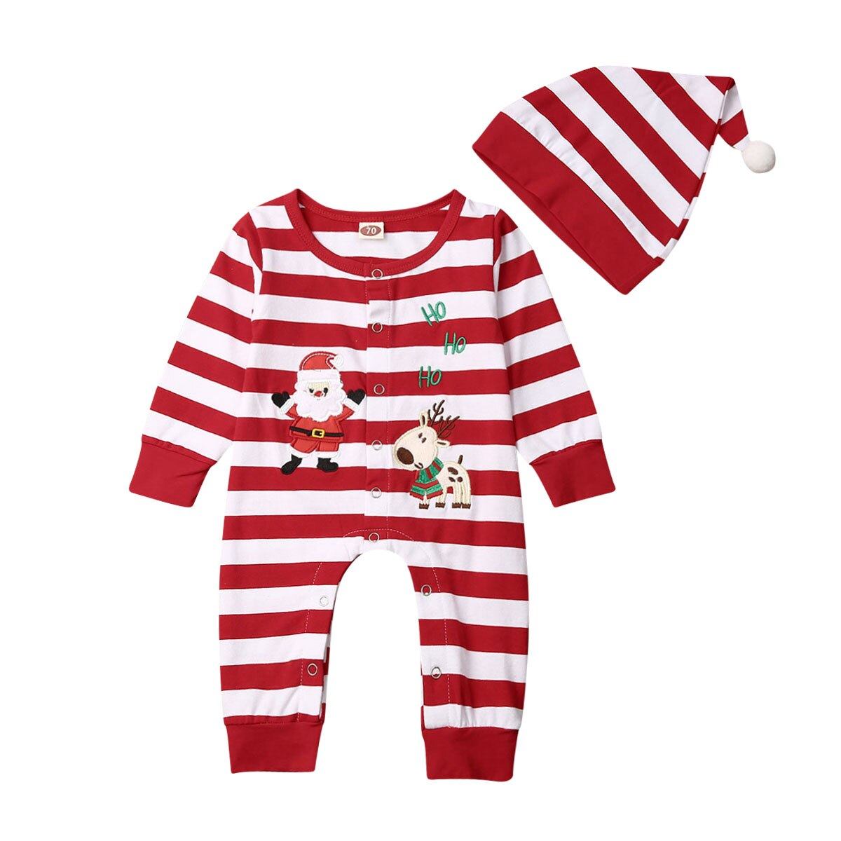 My First Christmas Newborn Baby Romper Infant Boy Girl Striped Long Sleeve Romper+Hat 2Pcs Xmas Clothes Set