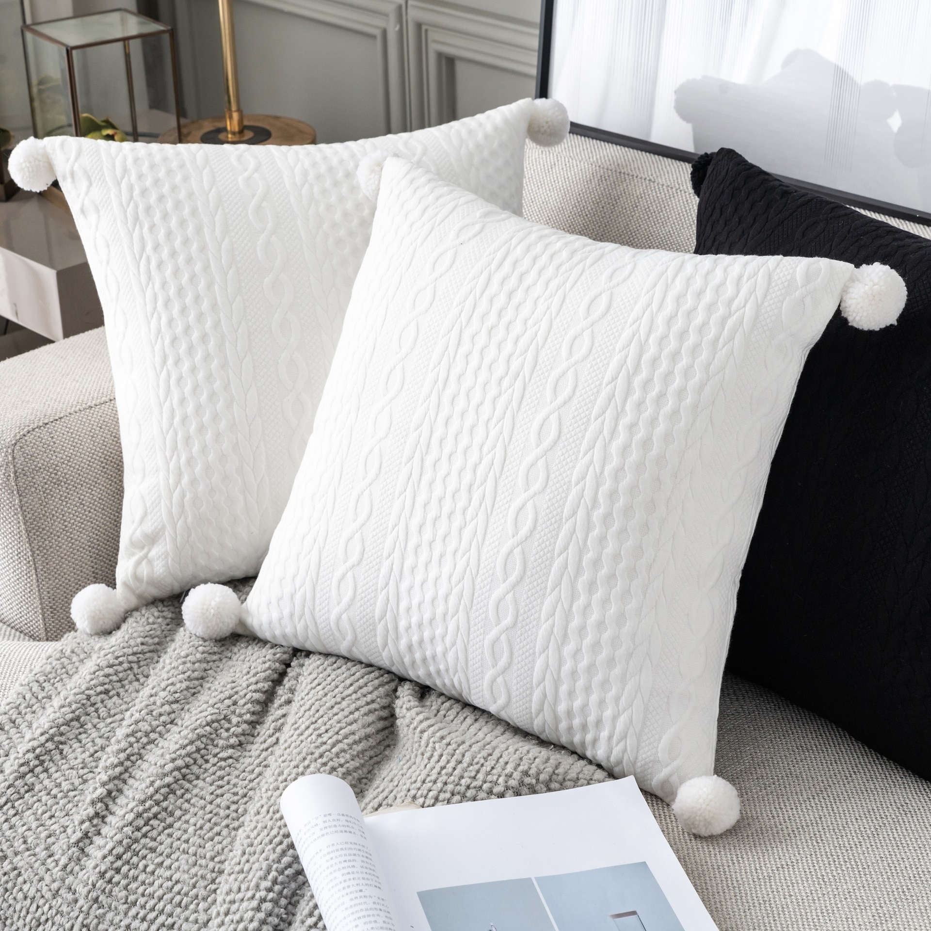 White Knitted with Pompoms Cushion Cover Vintage Grey Black Tassels Pillow Case 45x45cm Soft Home Decorative Pillow Cover