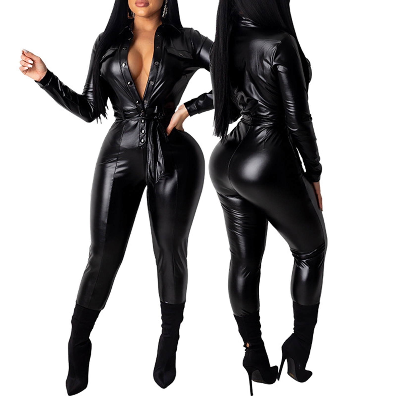 Women Sexy Faux Leather Latex Jumpsuits 2021 Sexy Smooth Wet Look Bodysuit Front Zipper Elastic Black PU Jumpsuit Slim Clubwear