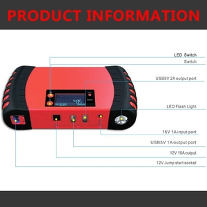 15000mAh 12V Power Bank for Car Electronic Devices Car Jump Starter Battery Booster for 5.0L Gasoline and 3.0L Diesel Auto
