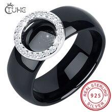 2020 élégant cercle cristal anneaux 8mm largeur sain en céramique anneaux avec cercle forme femmes mariage fiançailles cadeau en gros