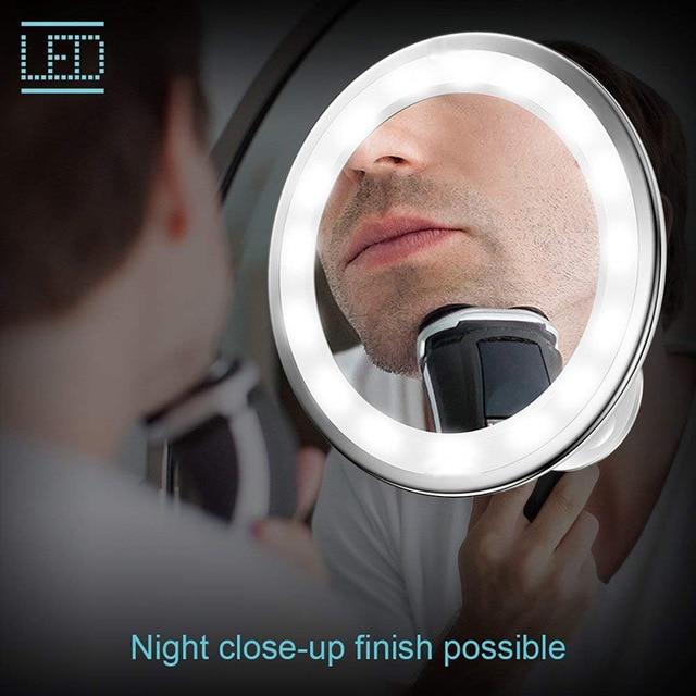 Espejo de maquillaje de aumento de 10 x con luz LED con ventosa, ajustable con rotación de 360 grados, espejos de afeitado de Ducha