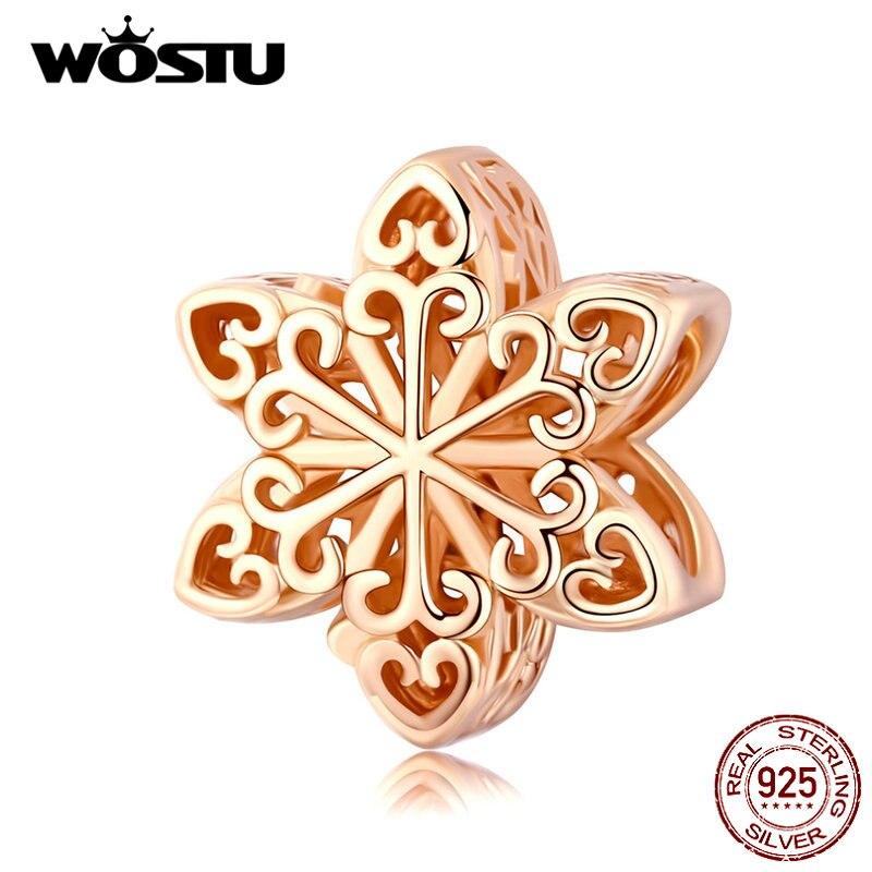 Wostu 100% 925 prata esterlina flocos de neve encantos rosa contas de ouro caber pulseiras originais pingente jóias de casamento fazendo CQC719-C