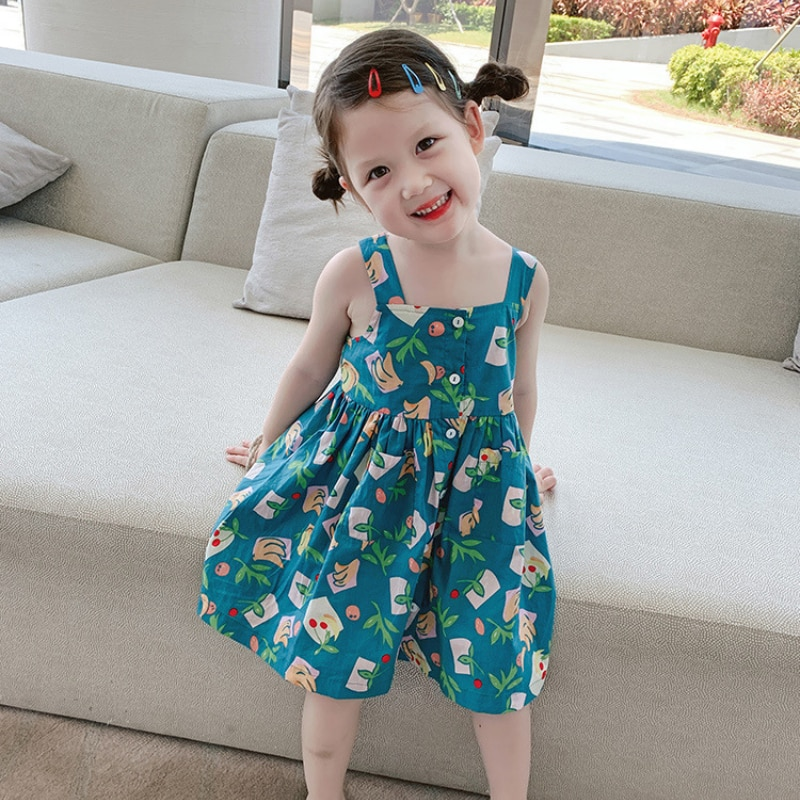 Girls Dress New Sleeveless Suspenders Summer Baby Princess Dress Children Floral Skirt
