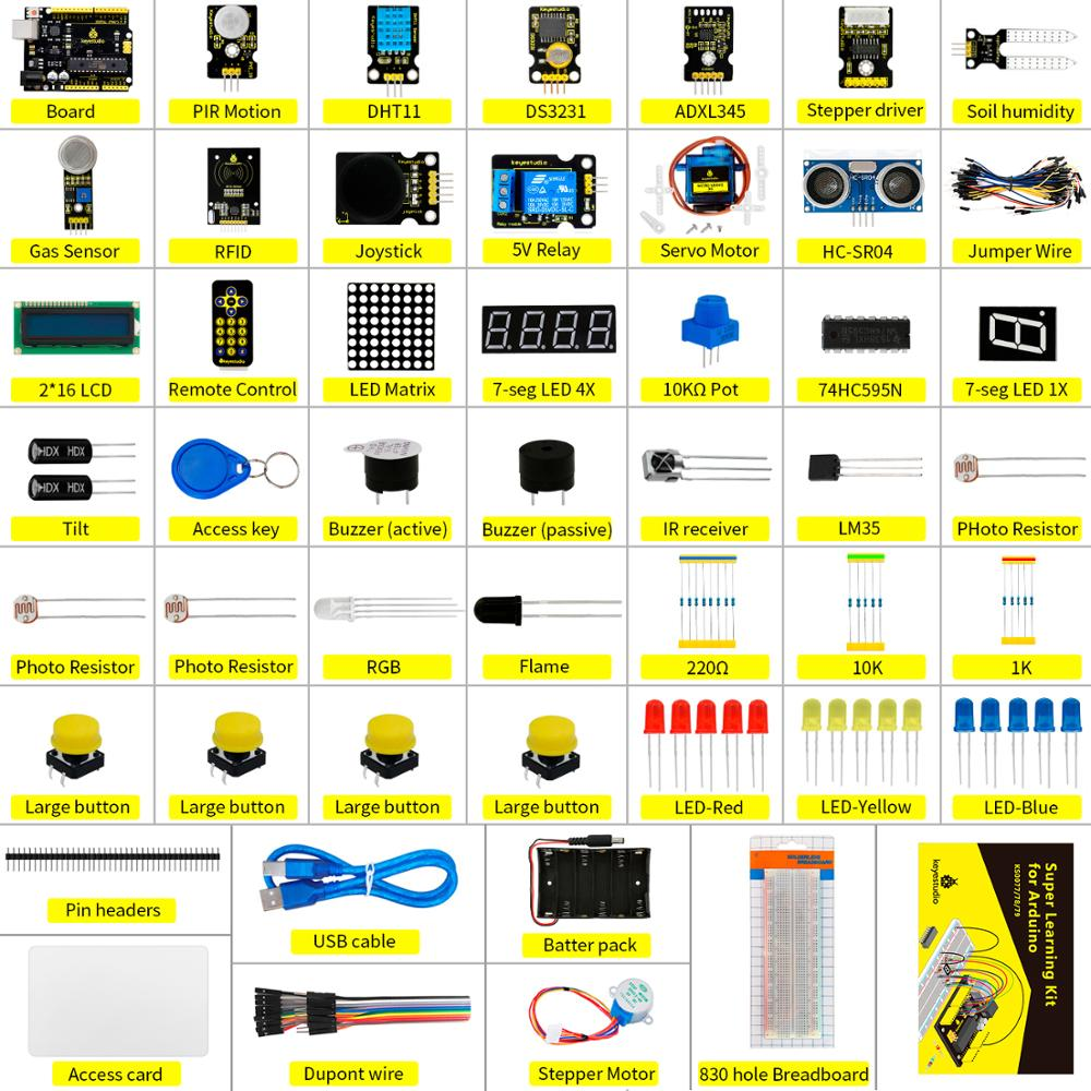 купить NEW Upgraded Keyestudio Super Starter kit with V4.0 Board for Arduino Starter kit for UNOR3 32Projects + Tutorial W/Gift Box в интернет-магазине