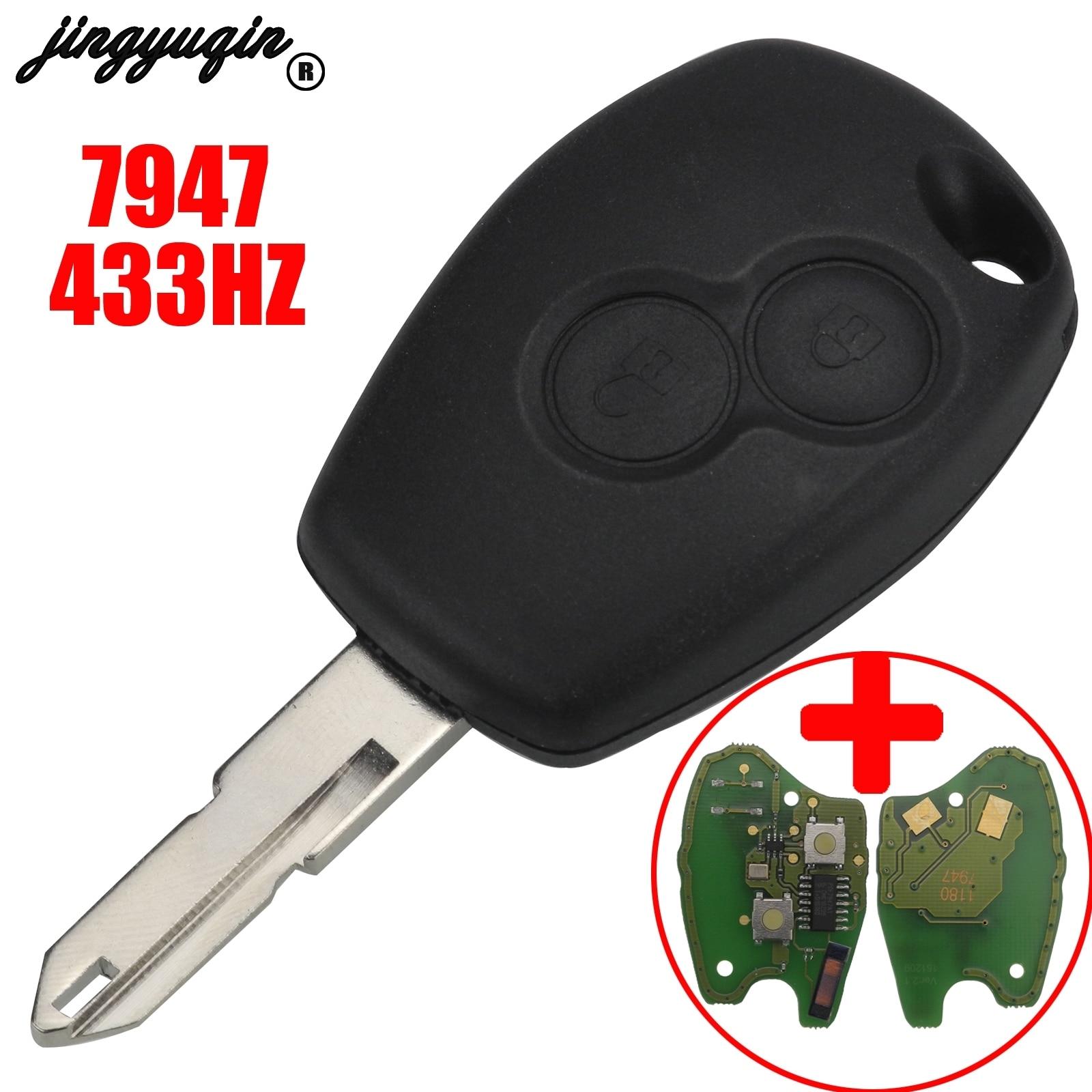 Jingyuqin 2 botones funda para mando a distancia del coche carcasa para Renault Vivaro Movano Traffic Master ASK 433MHz PCF7947 transpondedor Chip