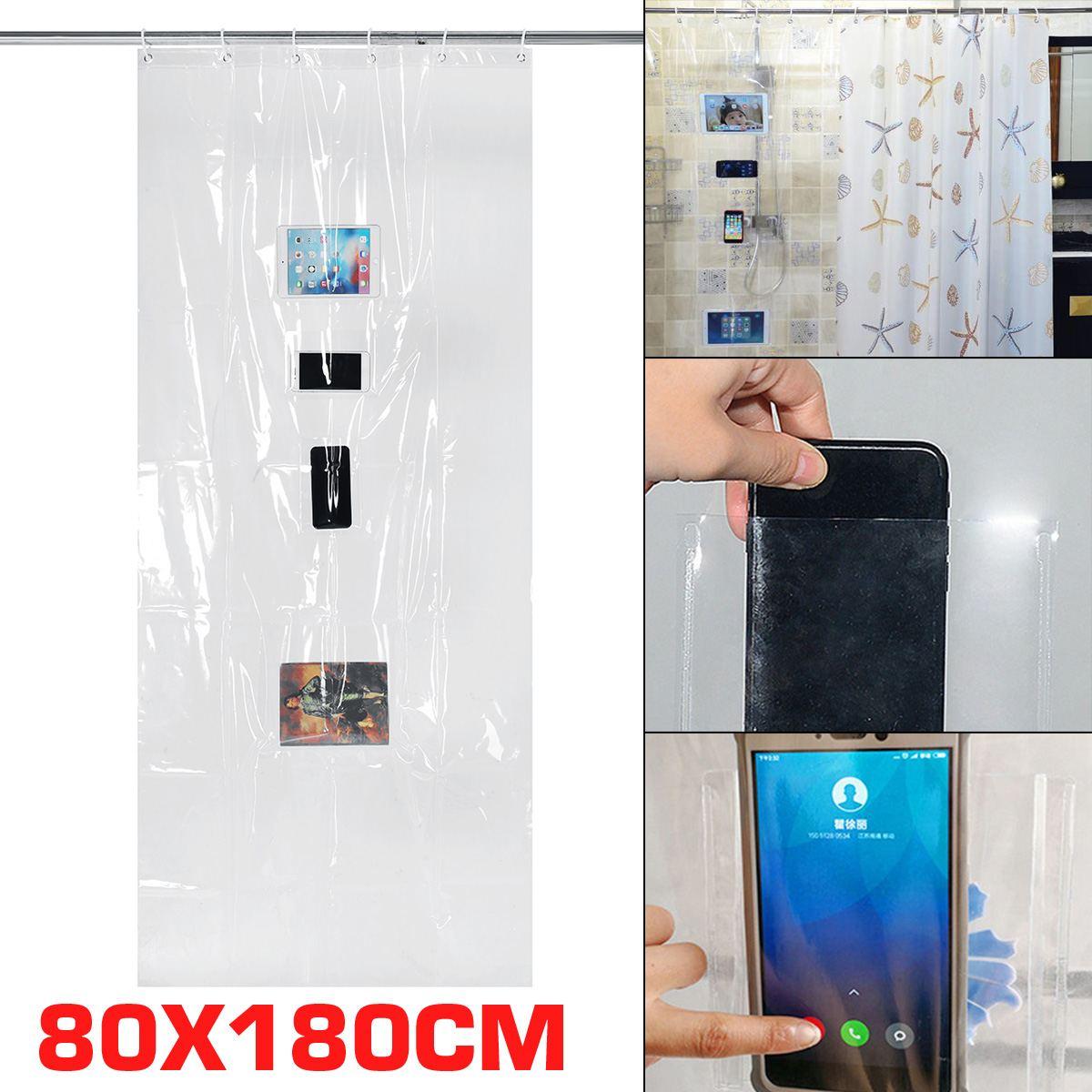 Personalizado baño almacenamiento ducha cortina impermeable transparente Cortina de ducha 80X180CM 4 bolsillos PVC Cortina de ducha
