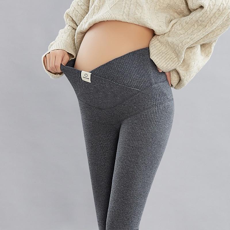 Pregnancy Leggings Maternity Pants Solid Warm Casual Clothes For Pregnant Women Adjustable Waist Pants For Autumn Plus Size 2021