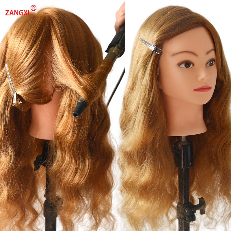 AliExpress - Professional 80% Human Hair Mannequin Head For Practise Braid Hairstyle Cosmetology Training Head With Free Clamp Wig Head