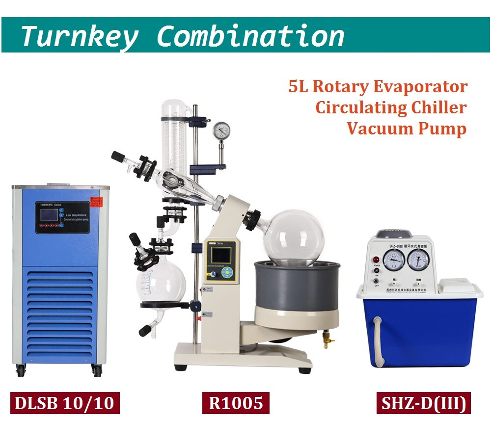 ZOIBKD 5L Rotary Evaporator with Chiller and Vacuum Pump 110V 220V Lab Rotavap Complete Set 5000ml flask One-stop shopping