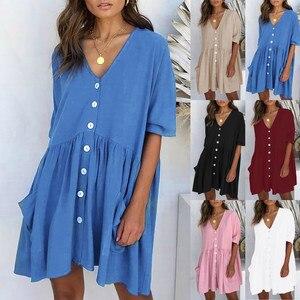 Dress Women's Fashion Casual V-Neck Solid Short Sleeve Button Pocket Short Dress vestido de mujer summer dress платья для женщин