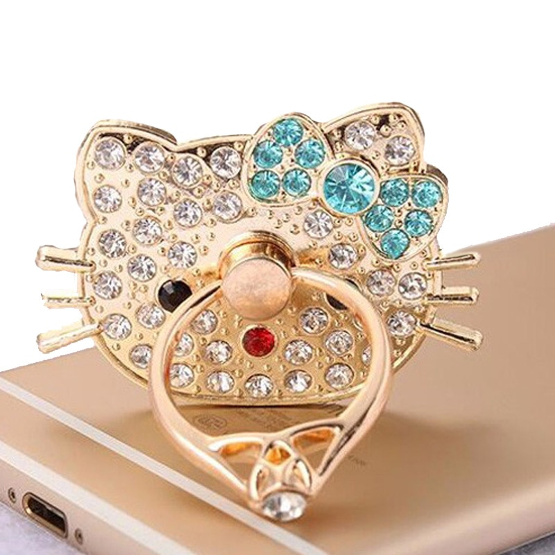 Luxe Diamond Shiny Hello Kitty Metalen Mobiele Telefoon Ring Stand Stok Socket 360 Houder Mobiele Telefoon Telefoon Voor Mobiele Telefoons