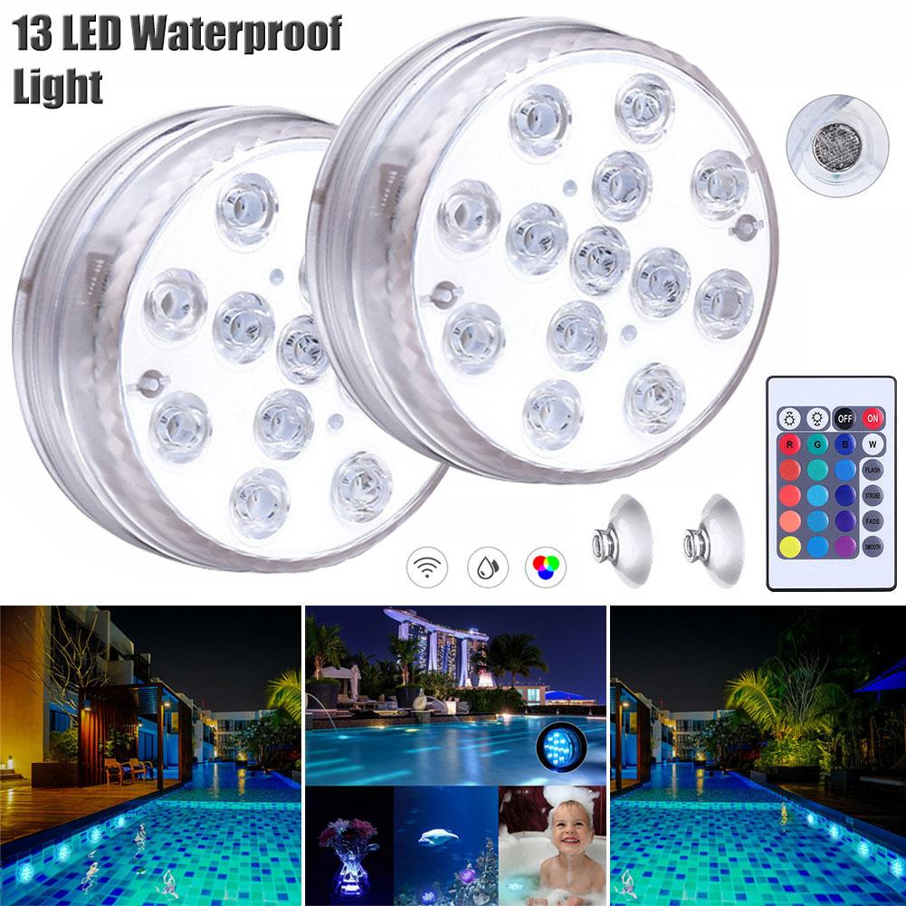 Luz subacuática impermeable 13 Led RGB con control remoto luz sumergible para pecera piscina fiesta de boda