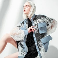 2020 new chic lace crochet flower long sleeve sexy jacket cool women denim coat chaqueta mujer