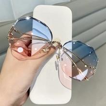 Fashion Brand Design Gradient Sunglasses Women Men Ocean Water Cut Trimmed Lens Metal Curved Temples