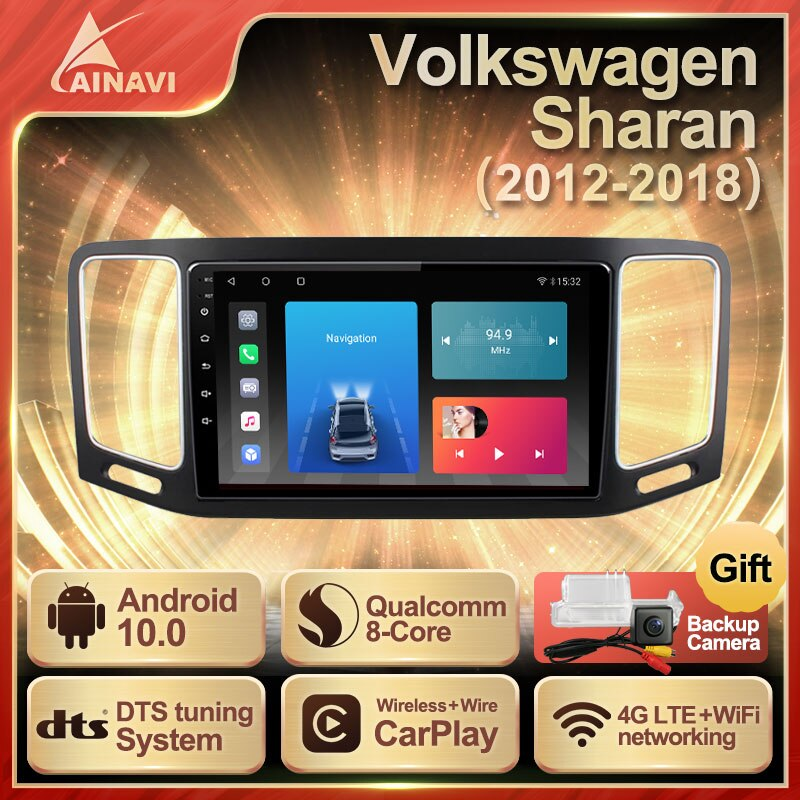 Car Radio Android 10.0 QLED Screen For Volkswagen VW Sharan 2012-2018 Auto Stereo Multimedia Player Navigation Carplay No 2din