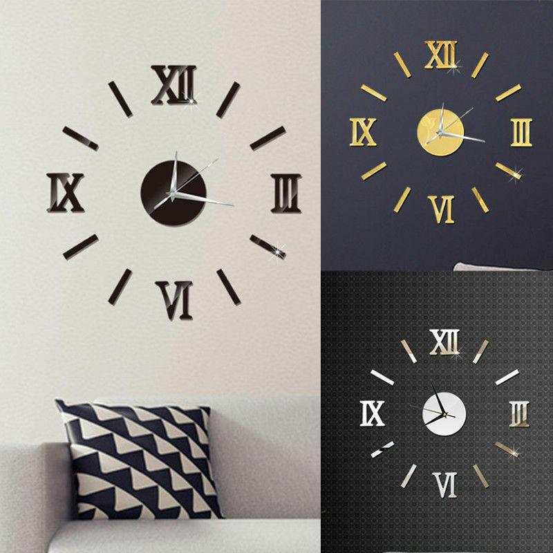 Modern DIY Large Wall Clock 3D Mirror Surface Sticker Home Decor Art Giant Wall Clock Watch With Roman Numerals Big Clock