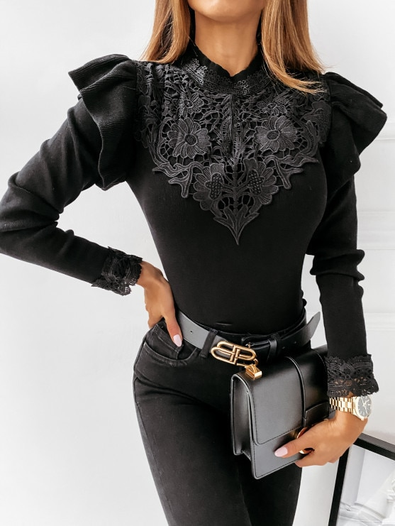 2021 Spring/autumn New Fashion T-shirt Casual Semi-high Collar Sexy Temperament Stitching Lace Ruffled Bottoming Commuter Tops