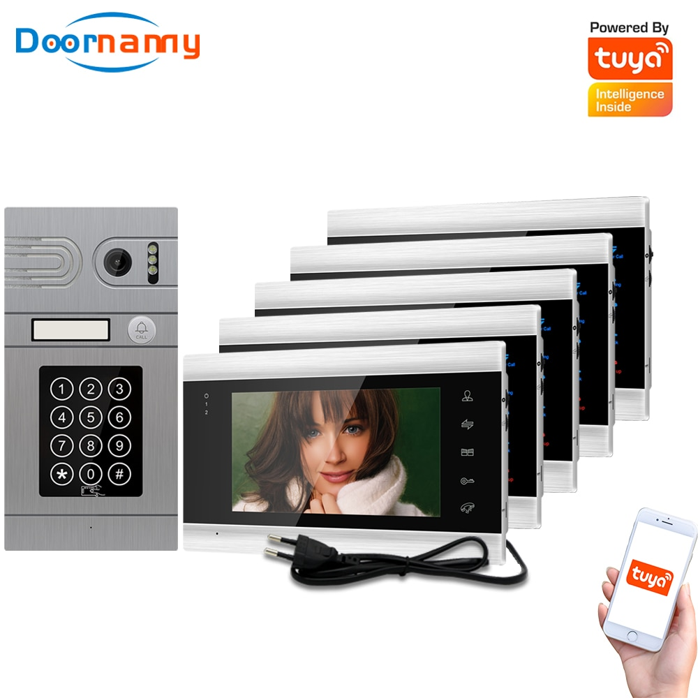 Doornanny 1 To 5 Doorbell Home Intercom Wireless WiFi Intercom Video Phone Doorman SmartLife Tuya 960P AHD Password Card Access