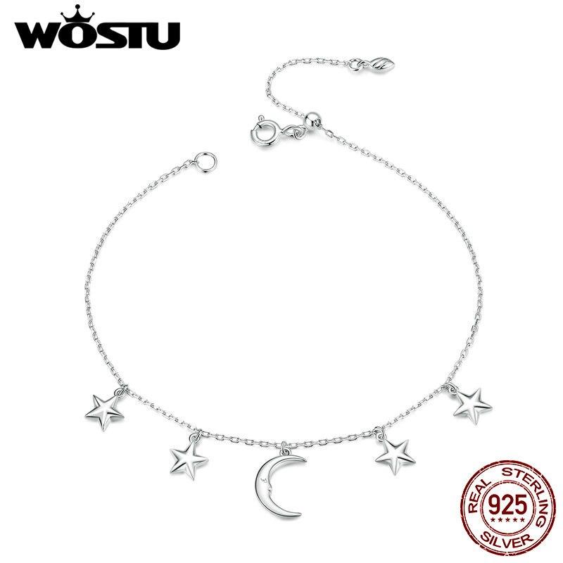 WOSTU Moon & браслеты со звездами, Настоящее серебро 925 пробы, цепочка со звездой, звено для женщин, Свадебный оригинальный дизайн, ювелирное изде...