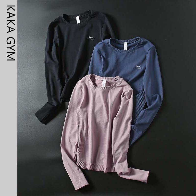Femmes Chemises de Sport Sans Couture Extensible Yoga t-Shirts Ajustement Sec top de fitness Mince Entraînement Gym Vêtements Femmes Sport Chemises Serrées