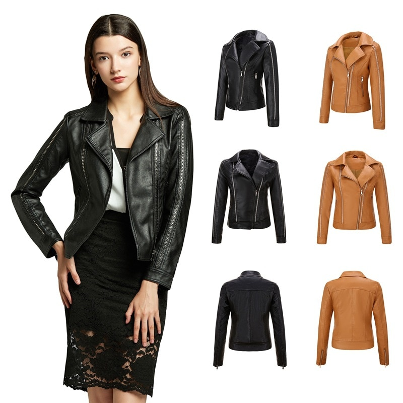 Spring and Autumn Women's Jacket PU Leather Women's Leather Coat European and American Popular Women's Coat Characteristic Rivet enlarge