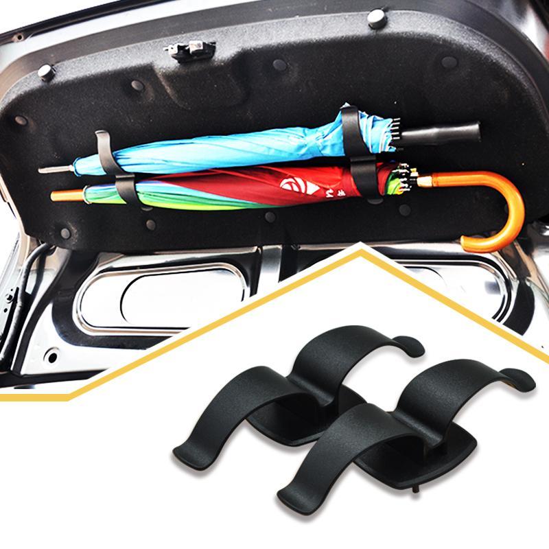 Car Trunk Mounting Double Bracket Umbrella Holder Rack Clip Hook Multifunctional Auto Interior Fastener Organiser Fit
