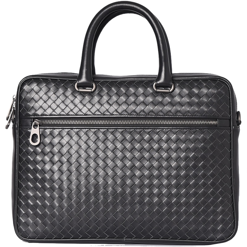 Men Bags Mini Briefcase Handbags Leather Laptop Bag Cowskin Genuine Leather Woven Commercial Business Men's Bags 2021 Small size