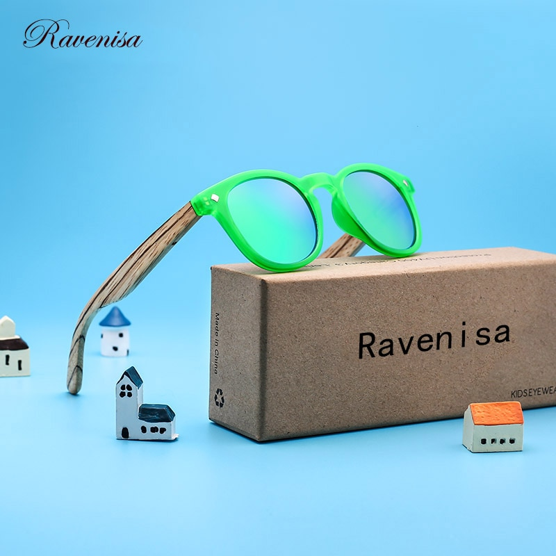 RAVENISA Kids Wood Sunglasses For Children Polarized Colourful Mirror Boy Girl Sun Glasses Round Woo