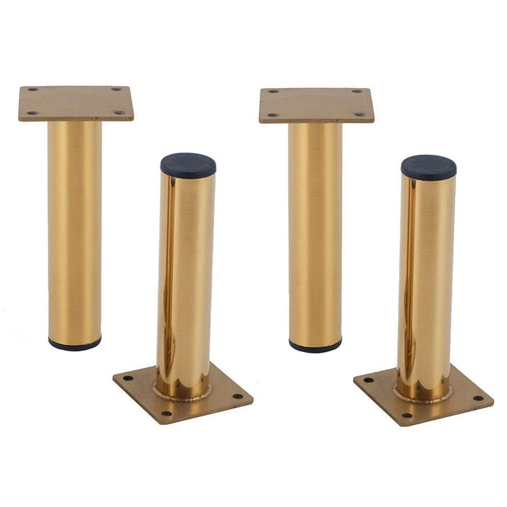 Patas de Metal para muebles de 4 uds, patas de repuesto para mesa de centro y sofá de Tv dorado patas de mesa cilíndricas de acero inoxidable patas de 120mm-180mm