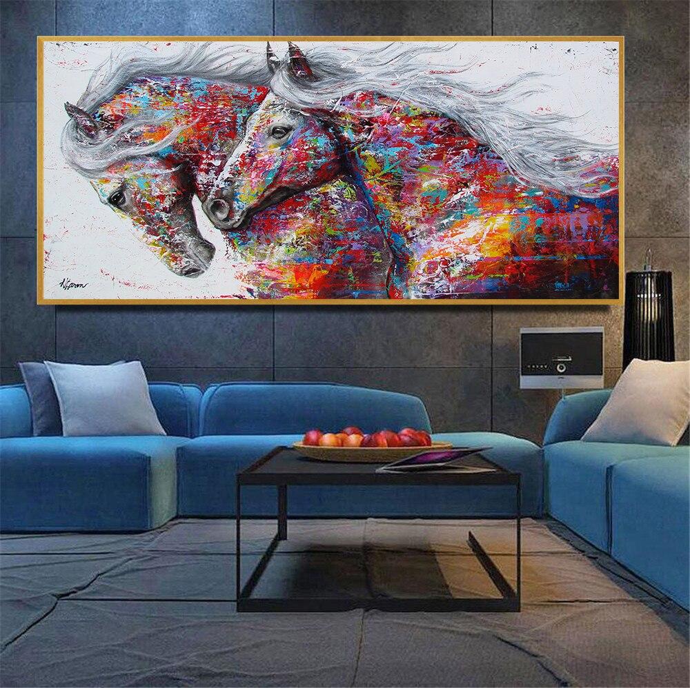 Pintura al óleo abstracta, lienzo tamaño grande, cartel de caballo, impresiones, mosaico...