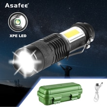 Mini linterna LED portátil XPE + COB para exteriores, luz recargable por USB, resistente al agua, con Zoom, para acampar