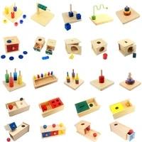 montessori wooden sensory toys imbucare box with box coin wood vertical horizontal discs basic life skills educational toys