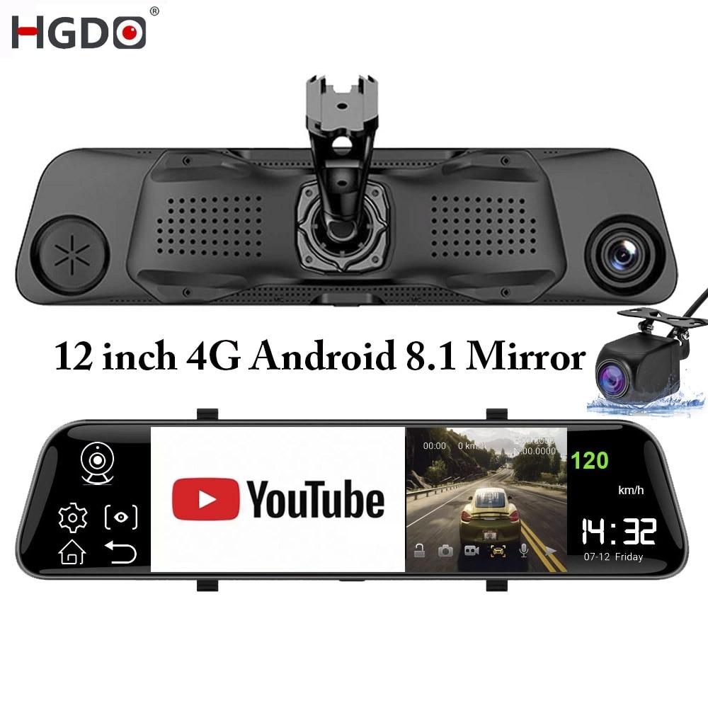 Зеркало заднего вида с видеорегистратором HGDO 12 '', 4G, ADAS, Android 8,1, Потоковое мультимедиа, FHD 1080P, Wi-Fi, GPS