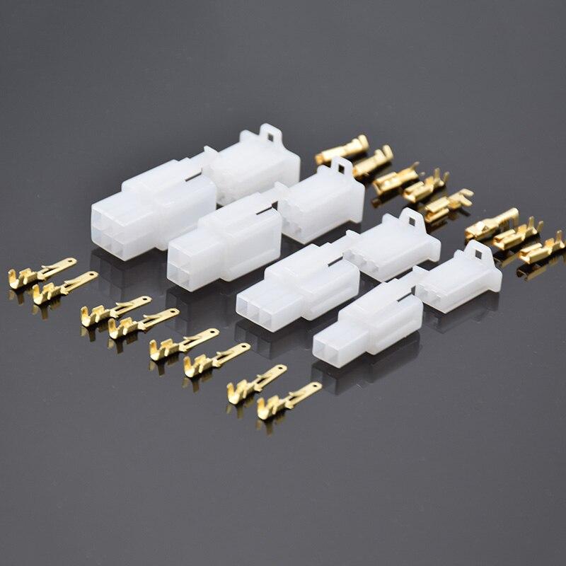 5set 2,8mm stecker 2P 3P 4P 6Pin 2pin Elektrische 2,8 Stecker Kits Männlich Weiblich Buchse stecker Für Motorrad Motorrad Auto weiß